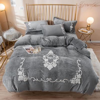2019新款水晶绒大版毛巾绣四件套 1.5m床单款四件套 安妮-烟灰