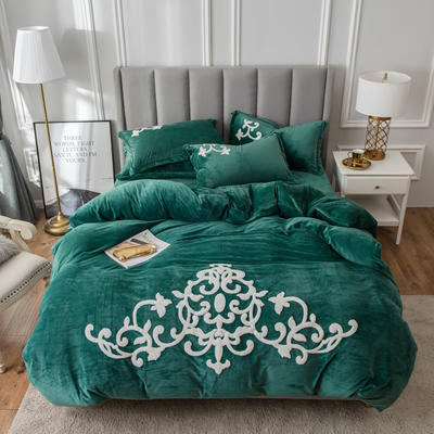 2019新款水晶绒大版毛巾绣四件套 1.8m床单款四件套 诺维雅-松石绿