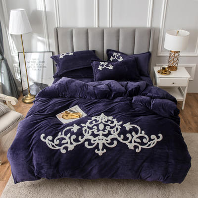 2019新款水晶绒大版毛巾绣四件套 1.5m床单款四件套 诺维雅-梦幻紫