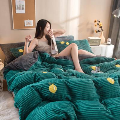 2019新款魔法绒毛巾绣 1.5-1.8m床单款 柠檬-松石绿