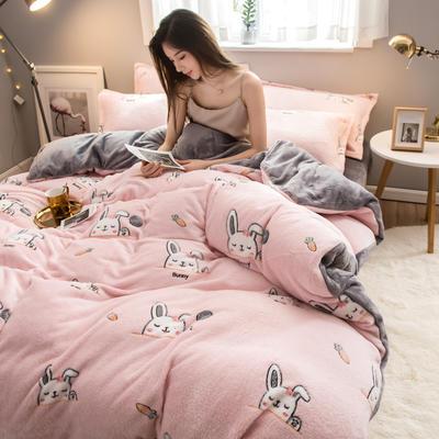 2019新款雪花绒四件套 1.2m床单款三件套 萌萌兔