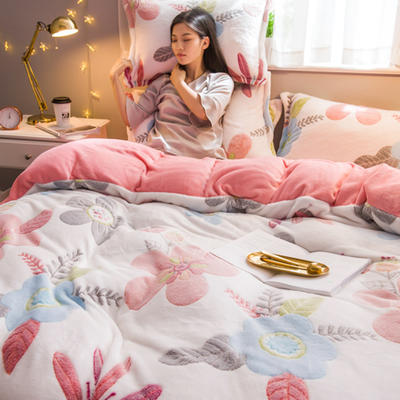 2019新款雪花绒四件套 1.2m床单款三件套 梦境花园