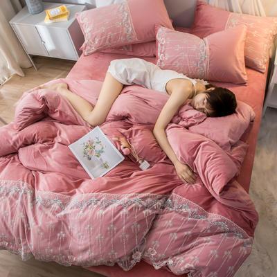 2019新款水晶绒蕾丝花边四件套 1.5m-1.8m床单款 梦幻庄园-豆沙
