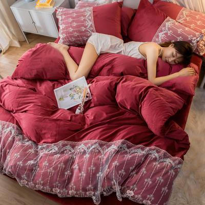 2019新款水晶绒蕾丝花边四件套 1.5m-1.8m床单款 梦幻庄园-酒红
