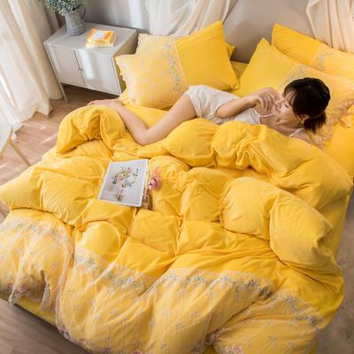2019新款水晶绒蕾丝花边四件套 1.5m-1.8m床单款 梦幻庄园-柠檬黄