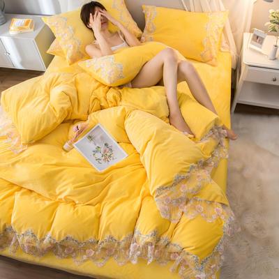 2019新款水晶绒蕾丝花边四件套 1.5m-1.8m床单款 秘密花园-柠檬黄
