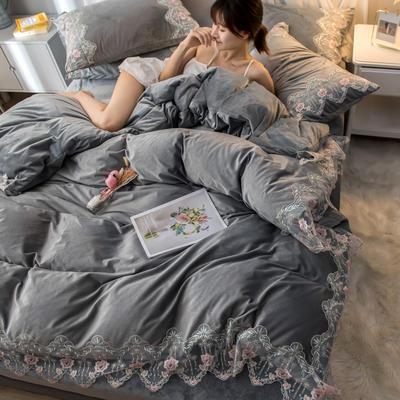2019新款水晶绒蕾丝花边四件套 1.5m-1.8m床单款 秘密花园-烟灰