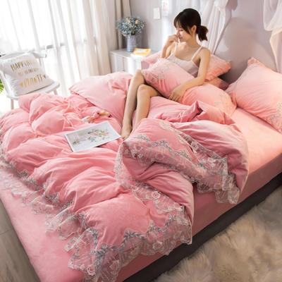 2019新款水晶绒蕾丝花边四件套 1.2m床单款三件套 秘密花园-玉粉