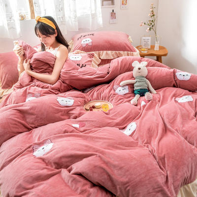 2019新款水晶绒毛巾绣荷叶边少女系列四件套 1.5m-1.8m床单款 萌兔妹-豆沙