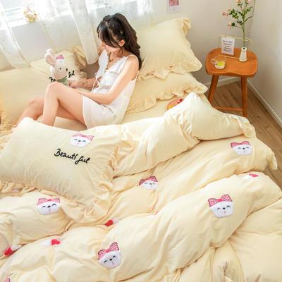 2019新款水晶绒毛巾绣荷叶边少女系列四件套 1.5m-1.8m床单款 萌兔妹-奶白