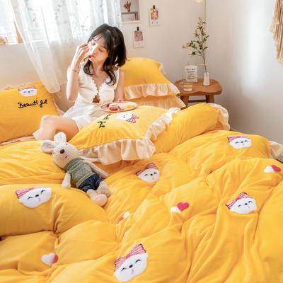 2019新款水晶绒毛巾绣荷叶边少女系列四件套 1.5m-1.8m床单款 萌兔妹-柠檬黄
