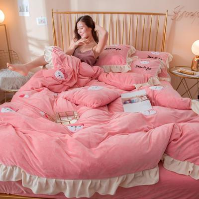 2019新款水晶绒毛巾绣荷叶边少女系列四件套 1.2m床单款三件套 萌兔妹-玉粉