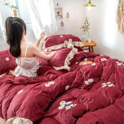 2019新款水晶绒毛巾绣荷叶边少女系列四件套 1.5m-1.8m床单款 小雏菊-酒红