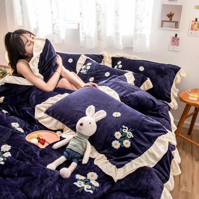 2019新款水晶绒毛巾绣荷叶边少女系列四件套 1.5m-1.8m床单款 小雏菊-梦幻紫