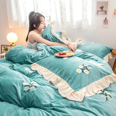 2019新款水晶绒毛巾绣荷叶边少女系列四件套 1.5m-1.8m床单款 小雏菊-抹茶绿