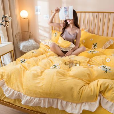 2019新款水晶绒毛巾绣荷叶边少女系列四件套 1.5m-1.8m床单款 小雏菊-柠檬黄