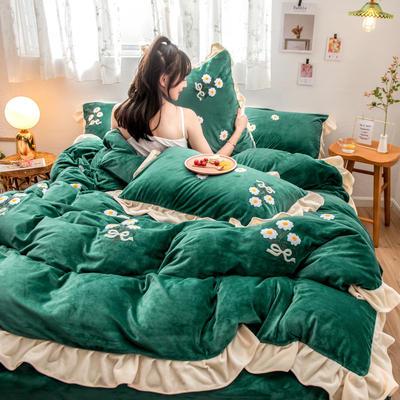 2019新款水晶绒毛巾绣荷叶边少女系列四件套 1.5m-1.8m床单款 小雏菊-松石绿