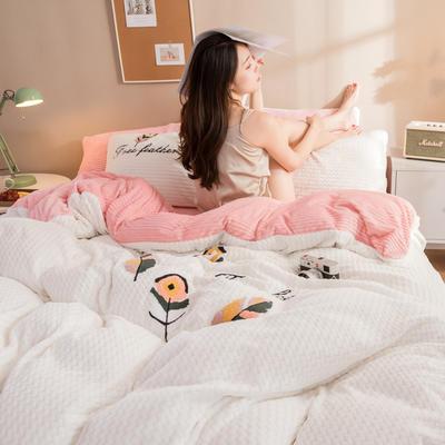 2019(贝贝绒+魔法绒)毛巾绣四件套 1.5m-1.8m床单款 天使之翼-白