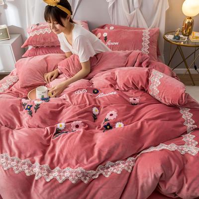 2019(水晶绒)毛巾绣+蕾丝花边四件套 1.5m-1.8m床单款 花梦恋语-豆沙