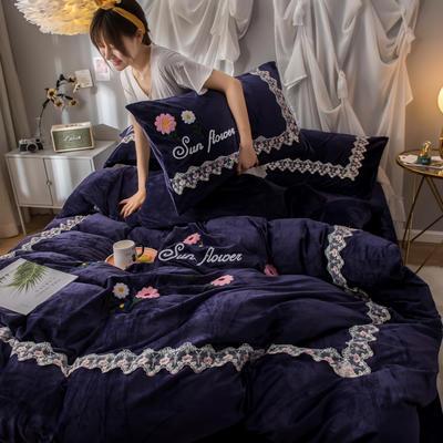 2019(水晶绒)毛巾绣+蕾丝花边四件套 1.5m-1.8m床单款 花梦恋语-梦幻紫