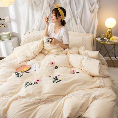 2019(水晶绒)毛巾绣+蕾丝花边四件套 1.5m-1.8m床单款 花梦恋语-奶白