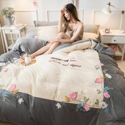 2019水晶绒拼绣四件套 1.8m床单款 爱情花园-灰