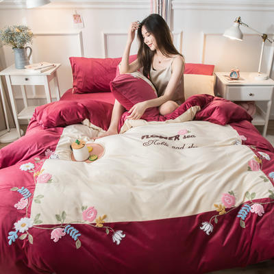 2019水晶绒拼绣四件套 1.8m床单款 爱情花园-酒红