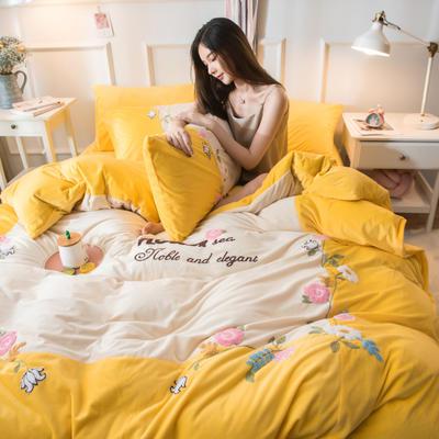 2019水晶绒拼绣四件套 1.8m床单款 爱情花园-柠檬黄