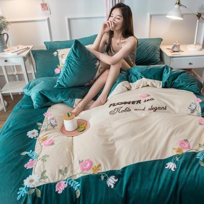 2019水晶绒拼绣四件套 1.8m床单款 爱情花园-松石绿