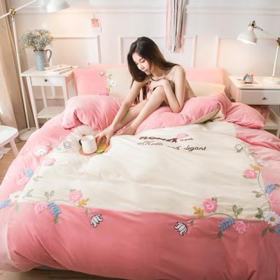 2019水晶绒拼绣四件套 1.8m床单款 爱情花园-玉粉