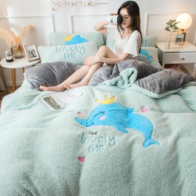 2019羊羔绒贴布绣四件套 1.5m-1.8m床单款 鲸鱼