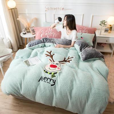 2019羊羔绒贴布绣四件套 1.5m-1.8m床单款 圣诞鹿-绿