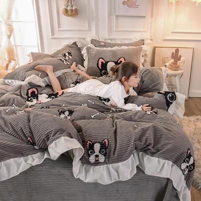 2019新款-印花魔法绒荷叶边公主风四件套 床单款四件套1.8m(6英尺)床 宠物狗