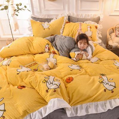 2019新款-印花魔法绒荷叶边公主风四件套 床单款四件套1.8m(6英尺)床 大白鹅