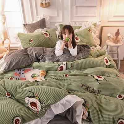 2019新款-印花魔法绒荷叶边公主风四件套 床单款四件套1.8m(6英尺)床 活力果