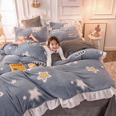 2019新款-印花魔法绒荷叶边公主风四件套 床单款三件套1.2m(4英尺)床 满天星