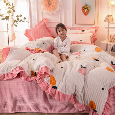 2019新款-印花魔法绒荷叶边公主风四件套 床单款三件套1.2m(4英尺)床 蜜桃萝卜