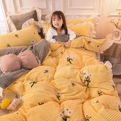 2019新款-印花魔法绒荷叶边公主风四件套 床单款四件套1.8m(6英尺)床 清新雏菊
