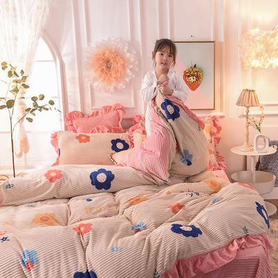 2019新款-印花魔法绒荷叶边公主风四件套 床单款四件套1.8m(6英尺)床 少女心