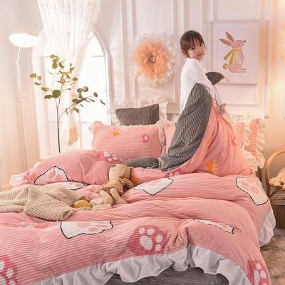 2019新款-印花魔法绒荷叶边公主风四件套 床单款四件套1.8m(6英尺)床 小脚印