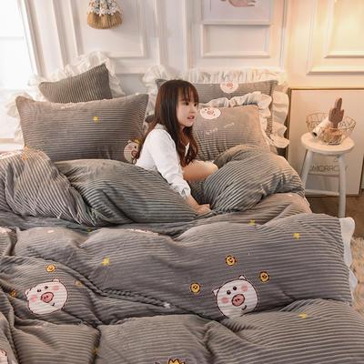 2019新款-印花魔法绒荷叶边公主风四件套 床单款四件套1.8m(6英尺)床 幸福猪猪