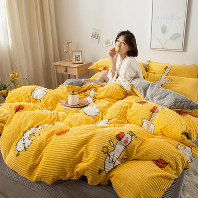 2019新款印花魔法绒简约四件套,床单,床笠款 1.8m床单款 快乐鸭