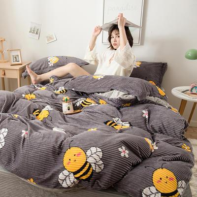 2019新款印花魔法绒简约四件套,床单,床笠款 1.8m床单款 小蜜蜂