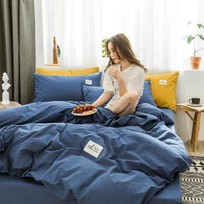 2020新款全棉水洗棉四件套 1.5m床单款 宝石蓝纯色