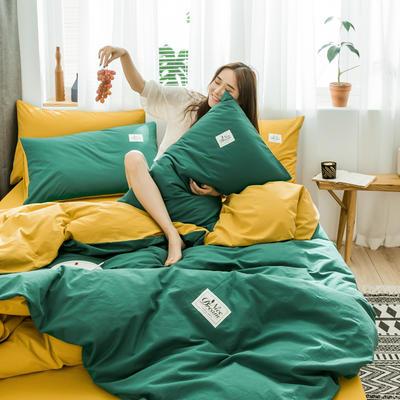 2020新款全棉水洗棉四件套 1.5m床单款 孔雀绿+黄