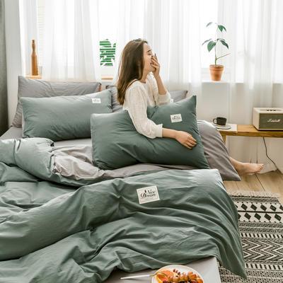 2020新款全棉水洗棉四件套 1.5m床单款 抹茶绿+浅灰