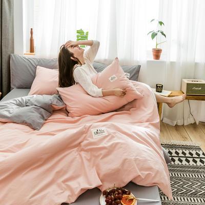 2020新款全棉水洗棉四件套 1.2m床单款三件套 玉粉+浅灰