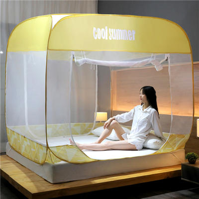 2020新款免安装蚊帐-几何钢丝款 1.2m 几何米黄