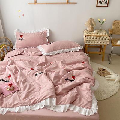 2020新款 韩版毛巾绣夏被四件套 单品夏被 1.5*2 草莓-豆沙