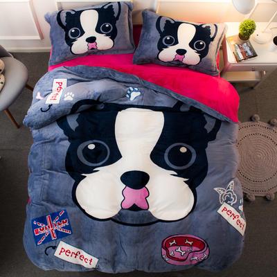 2020大版法莱绒四件套 1.5m-1.8m床单款 斑点狗